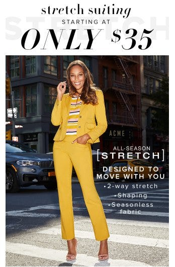 Stretch Suiting Starting at Only $35