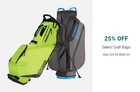 25% Off on Select Golf Bags from Golf Galaxy