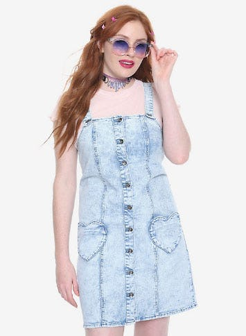 Blackheart Heart Pocket Acid Wash Overall Dress from Hot Topic