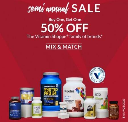 BOGO 50% Off The Vitamin Shoppe Family of Brands