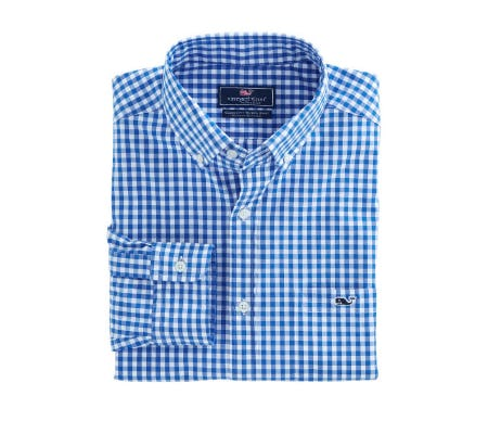 Carleton Gingham Classic Stretch Tucker Shirt from vineyard vines