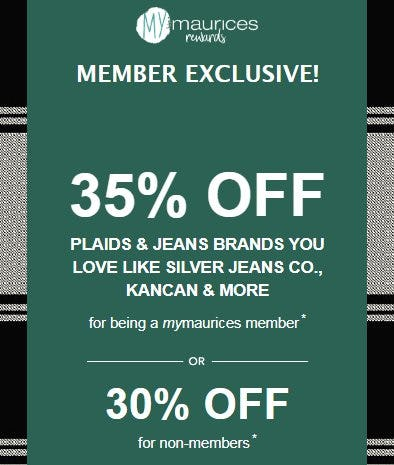35% Off Plaids & Jeans Brands You Love Like Silver Jeans Co., Kancan & More from maurices