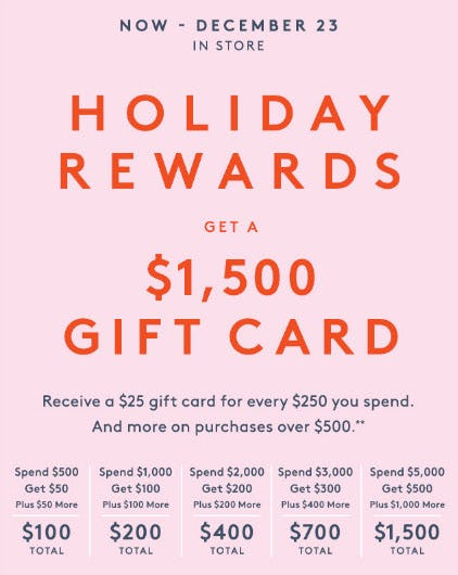 Holiday Rewards Get a $1,500 Gift Card
