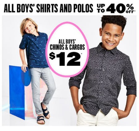 All Boys' Shirts And Polos up to 40% Off