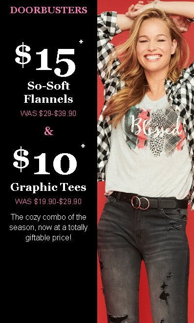$15 So-Soft Flannels and $10 Graphic Tees from maurices