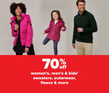 70% Off Women's, Men's & Kids' Sweaters, Outerwear, Fleece & More