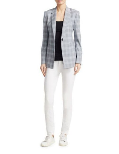Theory Maple Check Power Blazer from Saks Fifth Avenue