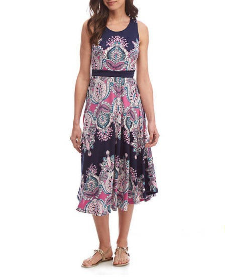 New Directions Printed Tie Waist Maxi Dress