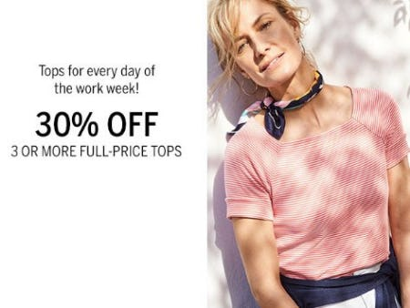 30% Off 3 or More Full-Price Tops from Dress Barn, Misses And Woman