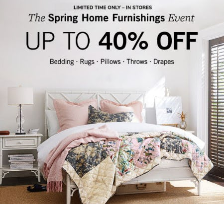 Up to 40% Off The Spring Home Furnishings Event from Pottery Barn