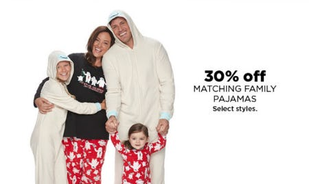 30% Off Matching Family Pajamas from Kohl's