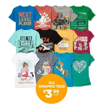 All Graphic Tees $3.99 & Up from The Children's Place Gymboree