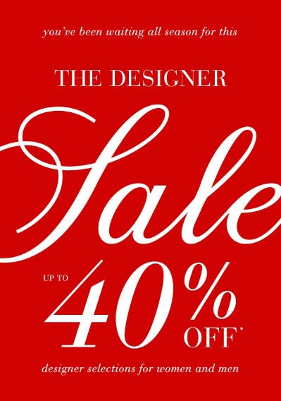 Up to 40% Off The Designer Sale from Saks Fifth Avenue