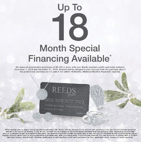 Up to 18 Month Special Financing Available from Reed's