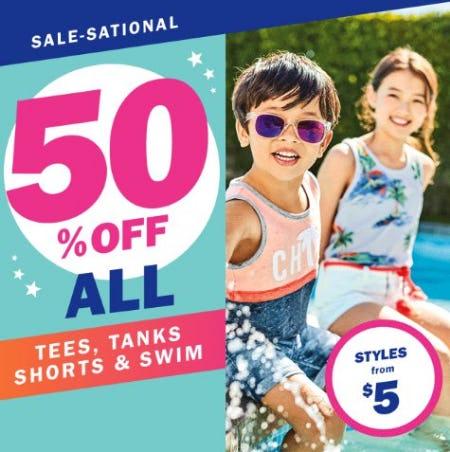 50% Off All Tees, Tanks, Shorts & Swim