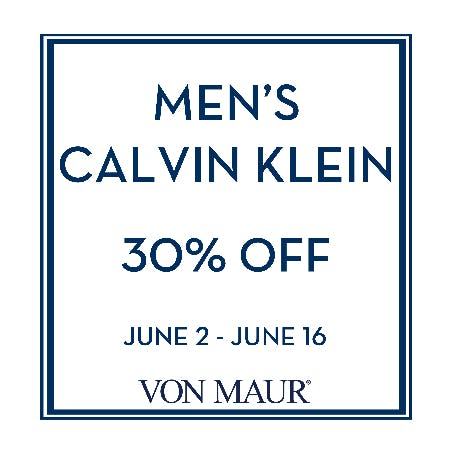 Men's Calvin Klein 30% off from Von Maur