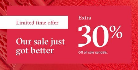 Extra 30% Off All Sale Sandals