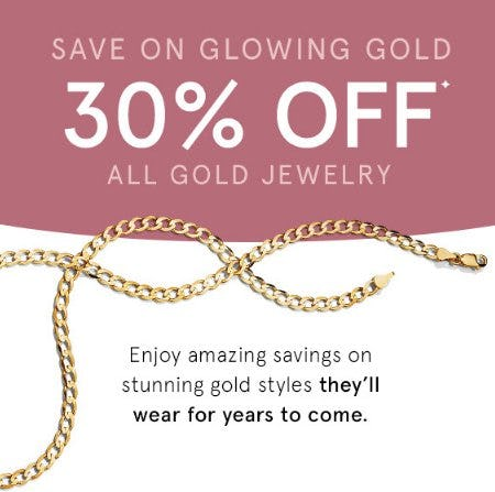 30% Off All Gold Jewelry