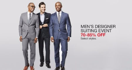 Men's Designer Suiting Event 70-85% Off