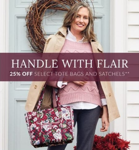 25% Off Select Tote Bags and Satchels from Vera Bradley