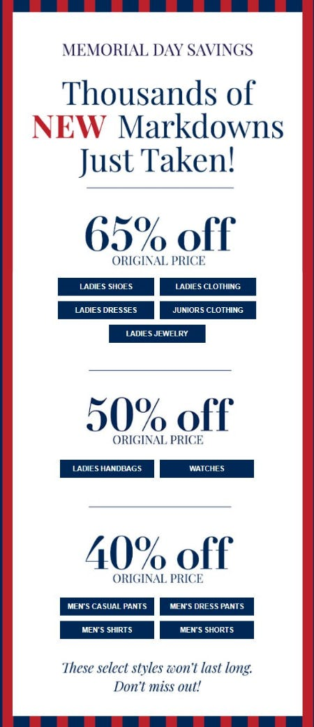 Memorial Day Savings from Dillard's