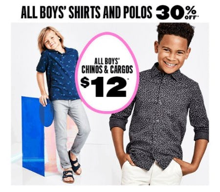All Boys' Shirts and Polos 30% Off from The Children's Place