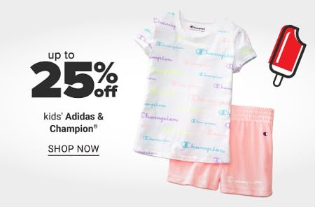 Up to 25% Off Kids' Adidas & Champion from Belk