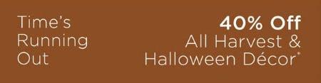 40% Off All Harvest & Halloween Decor