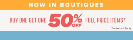 Buy One, Get One 50% Off Full Price Items from francesca's
