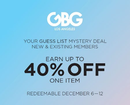 Mystery Coupon Event! Earn up to 40% OFF One Item! from G By Guess
