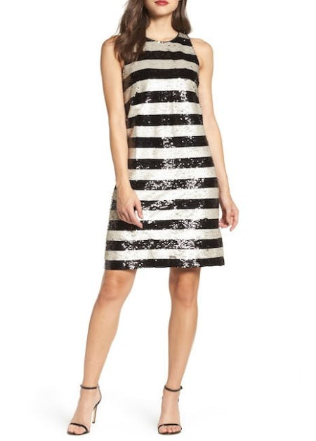 Eliza J Reversible Stripe Sequin Shift Dress from Nordstrom Rack