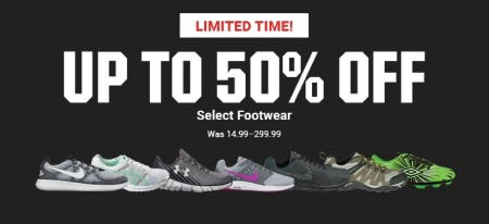 Up to 50% Off Select Footwear