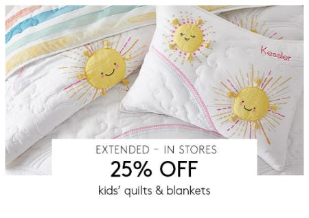 25% Off Kids' Quilts & Blankets from Pottery Barn Kids