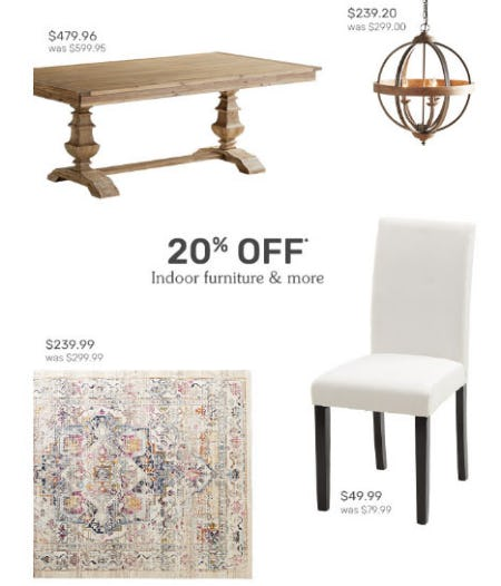 20% Off Indoor Furniture & More from Pier 1 Imports