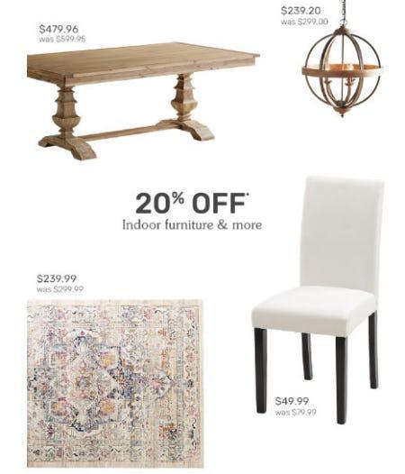 20% Off Indoor Furniture & More