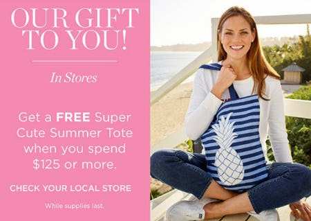 Free Tote When You Spend $125 or More from Talbots