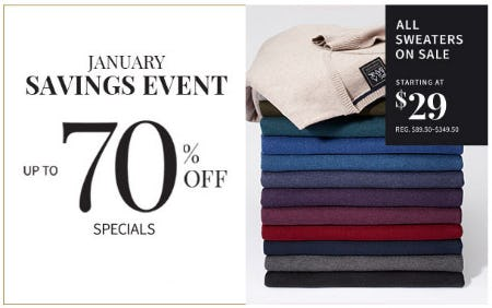 Up to 70% Off January Savings Event from Jos. A. Bank