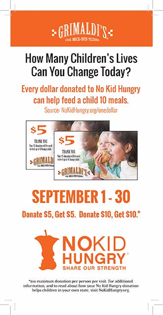 Dine, Shop and Share for No Kid Hungry from Grimaldi's Coal Brick Oven Pizzeria