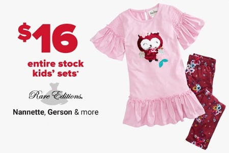 $16 Entire Stock Kids' Sets from Belk