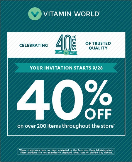 40% off over 200 Items throughout the store