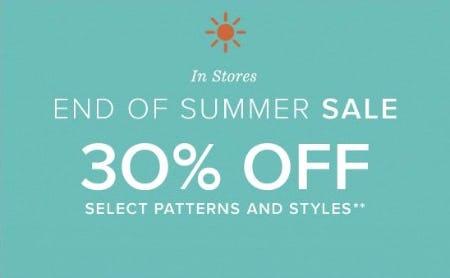 End of Summer Sale 30% Off