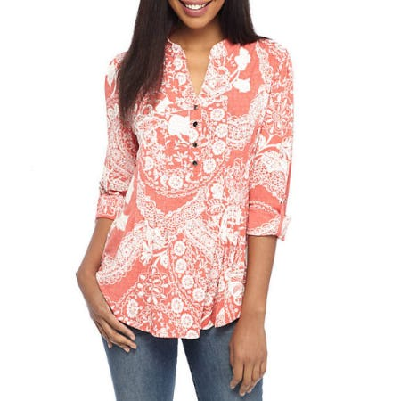 New Directions Three-Quarter Sleeve Paisley Puff Top from Belk
