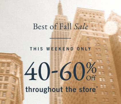 40-60% Off Throughout The Store from Abercrombie & Fitch