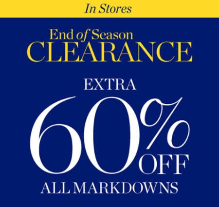 Extra 60% Off End of Season Clearance