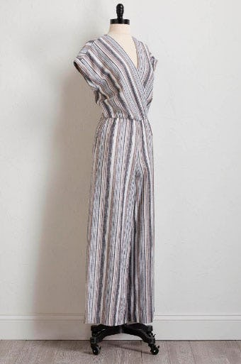 Neutral Striped Linen Jumpsuit from Versona Accessories
