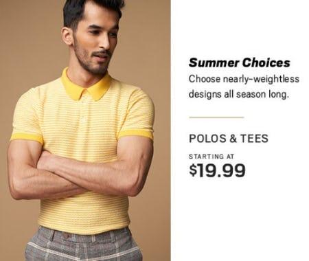 Polos & Tees Starting at $19.99