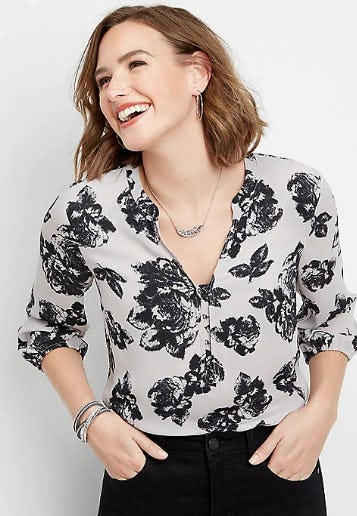 Hook And Eye Floral Blouse from maurices