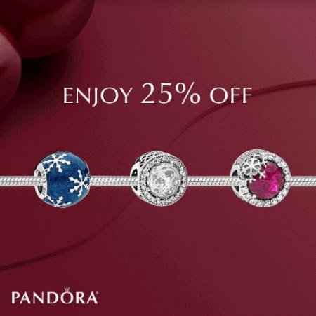 Receive 25% Off Your Entire Purchase at PANDORA from PANDORA