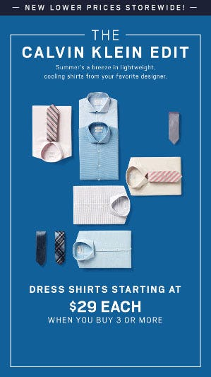 Dress Shirts Starting at $29 Each When You Purchase 3 or More from Men's Wearhouse