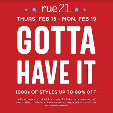 Presidents' Day Sale from rue21